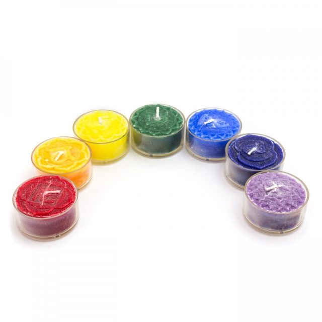 Healing Light Online Psychic Readings and Merchandise Chakra Tea Light Set of Candles with Palm Wax