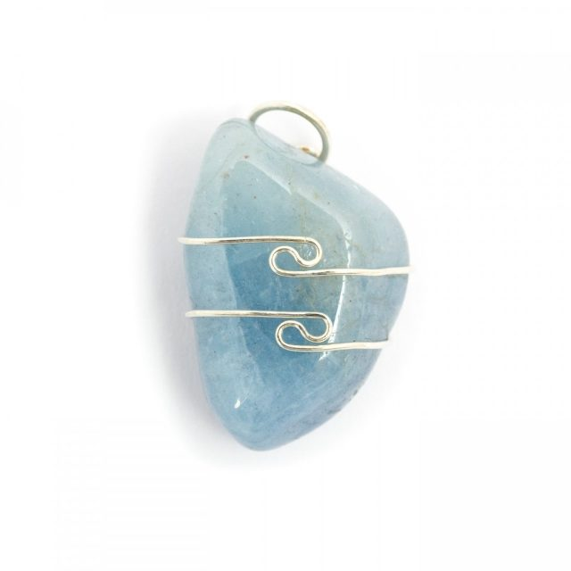 Healing Light Online Psychic Readings and Merchandise Aqua Marine Wire Wrap Pendant