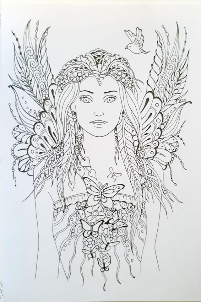 Healing Light Online Psychics Messages From the Fairies Colouring Book by Doreen Virtue for sale inside page sample