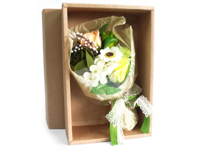 Healing Light Online Psychics and New-Age Shop Soap Flower Boxed Hand Bouquet Green for Sale