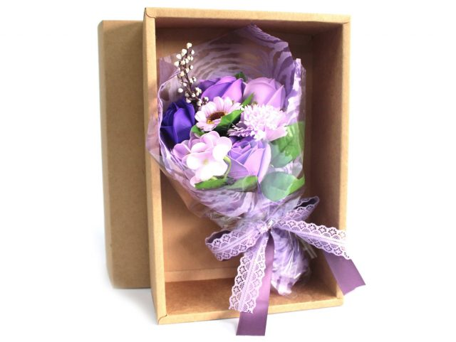 Healing Light Online Psychics and New-Age Shop Soap Flower Boxed Hand Bouquet Purple for Sale