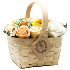 Healing Light Online Psychics and New-Age Shop Soap Flowers in Wicker Basket Orange for Sale