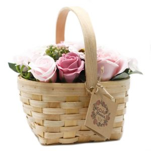 Healing Light Online Psychics and New-Age Shop Soap Flowers in Wicker Basket Pink for Sale