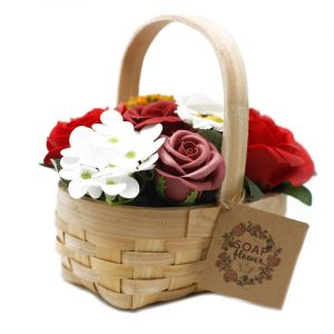 Healing Light Online Psychics and New-Age Shop Soap Flowers in Wicker Basket Red for Sale
