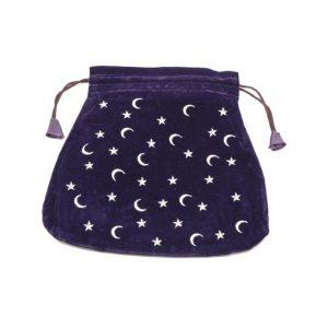 Healing Light Online Psychic Readings and Merchandise Velvet Blue Stars and Moon Tarot Bag