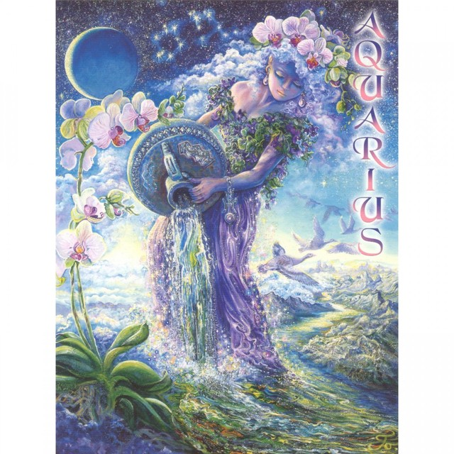 Healing Light Online Psychic Readings and Merchandise Zodiac Greeting Card Aquarius By Josephine Wall
