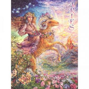 Healing Light Online Psychic Readings and Merchandise Zodiac Greeting Card Aries by Josephine Wall
