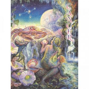 Healing Light Online Psychic Readings and Merchandise Zodiac Greeting Card Cancer by Josephine Wall