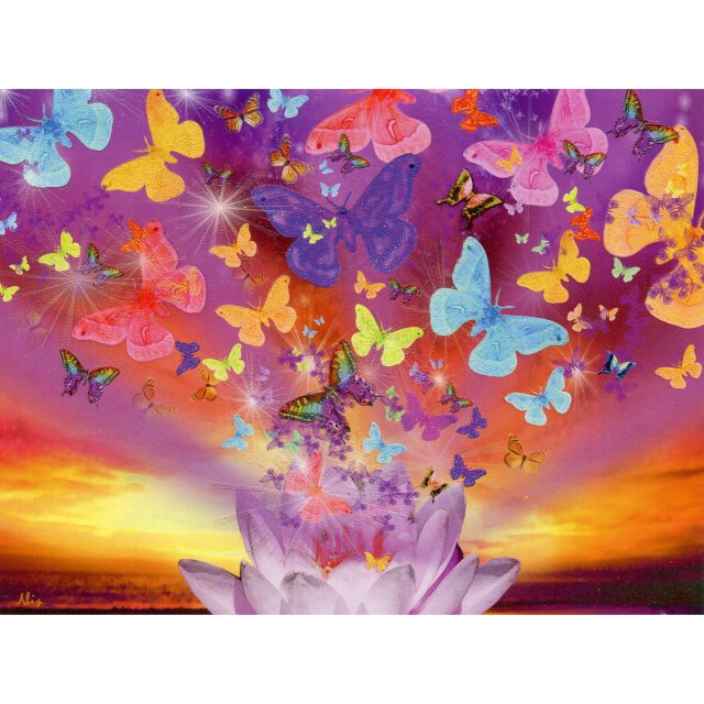 Healing Light Online Psychic Readings and Merchandise Happy Birthday Cellestial Butterfly Greeting Card by Alixandra Mulllins