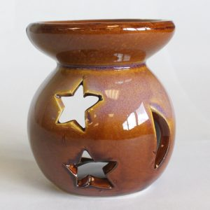 Healing Light Online Psychic Readings and Merchandise Small Brown Moon and Stars essential Oil Burner
