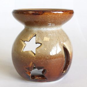 Healing Light Online Psychic Readings and Merchandise Small Brown and White Essential Oil Burner with moon and Stars
