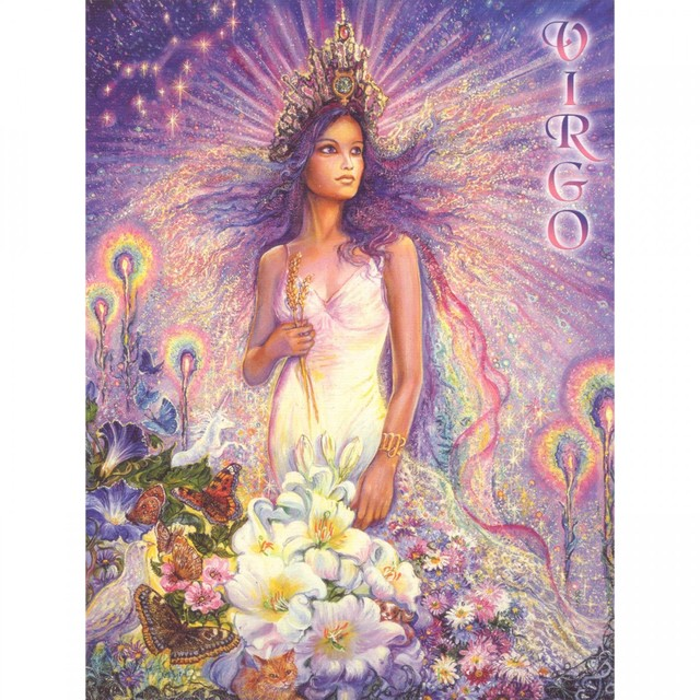 Healing Light Online Psychic Readings and Merchandise Zodiac greeting Card Virgo by Josephine Wall