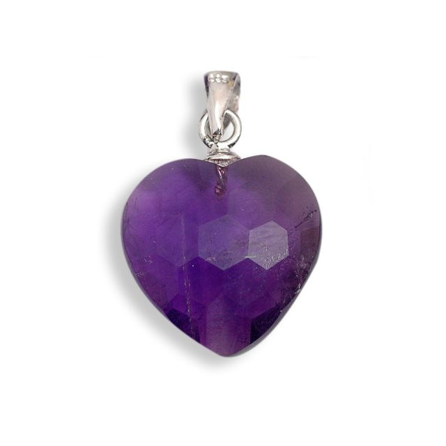Healing Light Online Psychic Readings and Merchandise Faceted Amethyst Pendant Heart