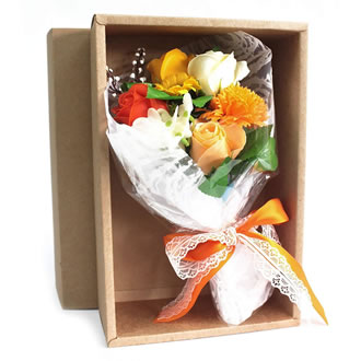 Soap Flower Boxed Hand Bouquet – Orange